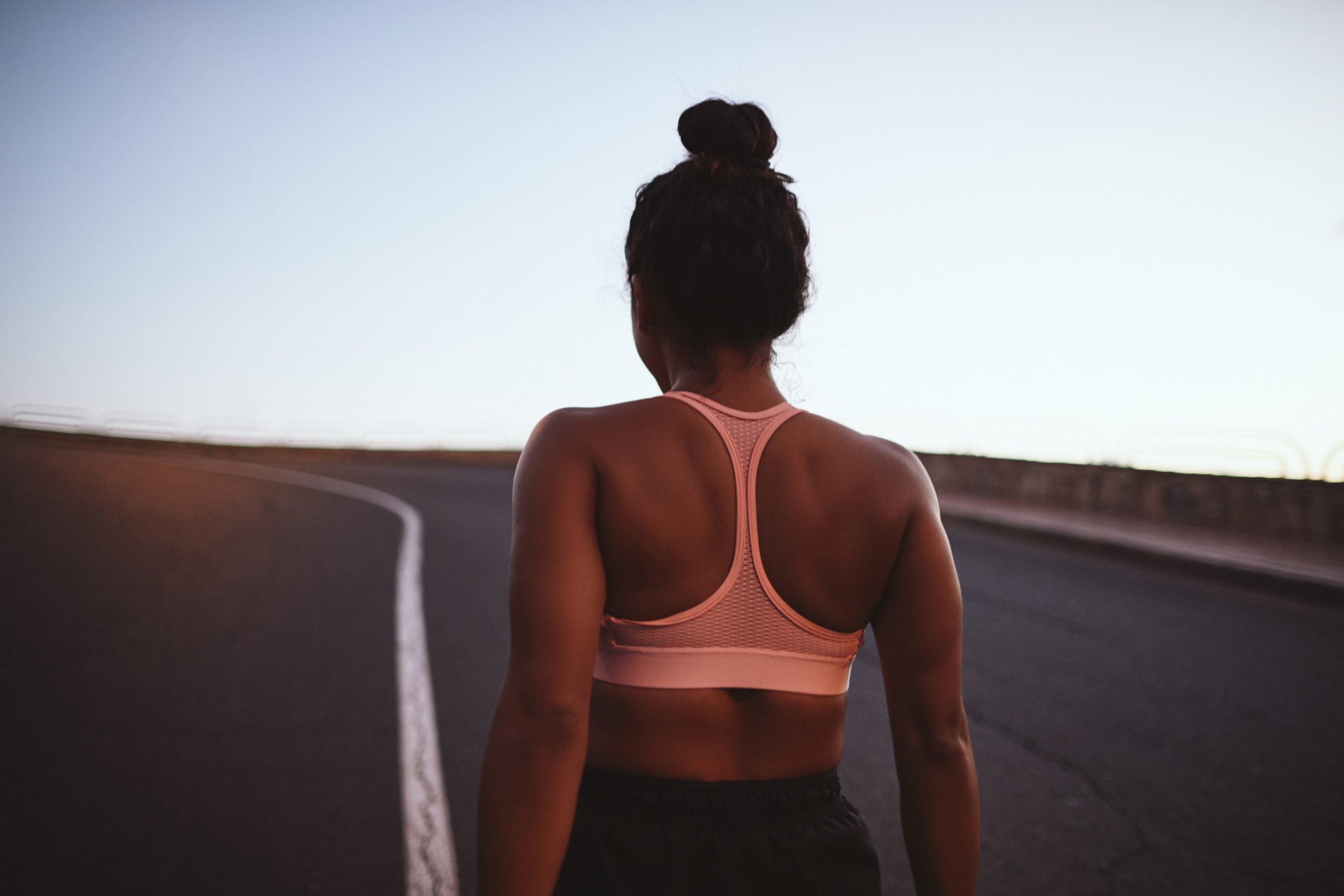 Person at track jogging